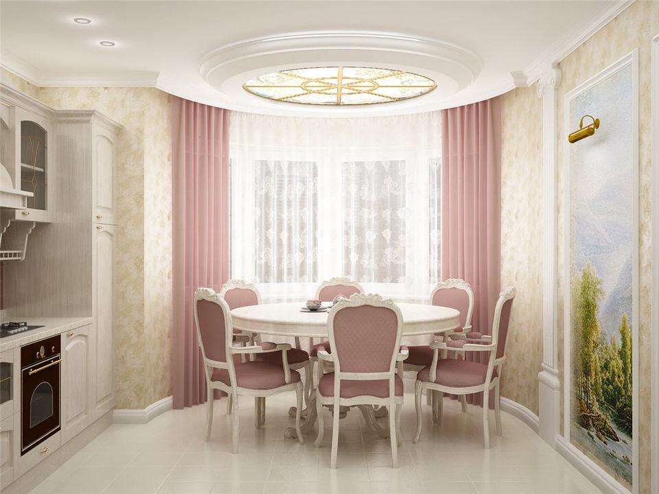 Дизайн кухни-гостиной с эркером фото
