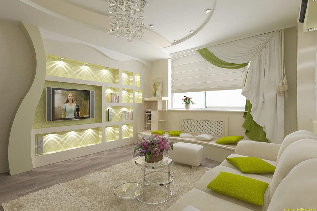 Модный дизайн гостиной комнаты